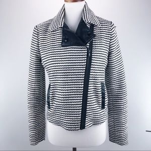 Forever 21 Striped Polyester Faux Leather Jacket